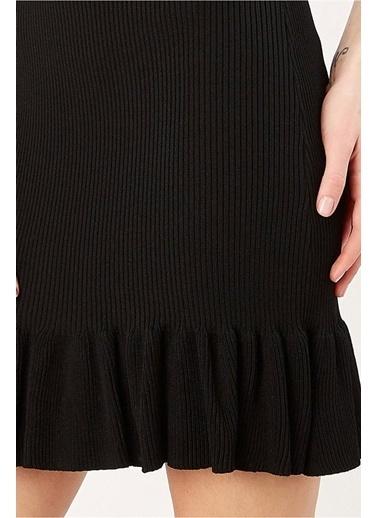 Peraluna Peraluna Siyah Renk Ribanalı Fırfırlı Kadın Abiye Triko Elbise Siyah